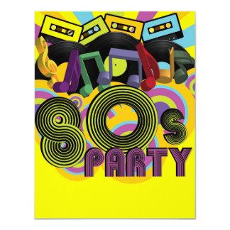 fiesta 80s invitación 10,8 x 13,9 cm