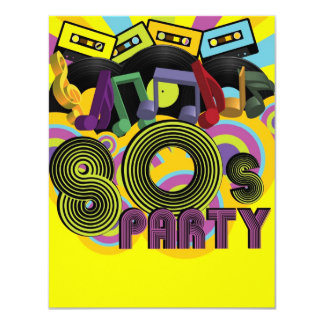 """fiesta 80s invitación 4.25"""" x 5.5"""""""