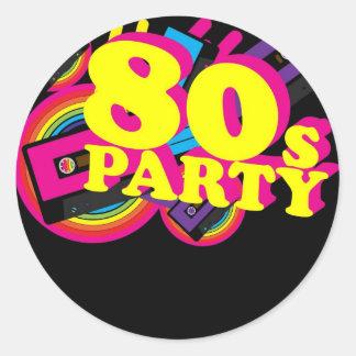 fiesta 80s pegatina redonda
