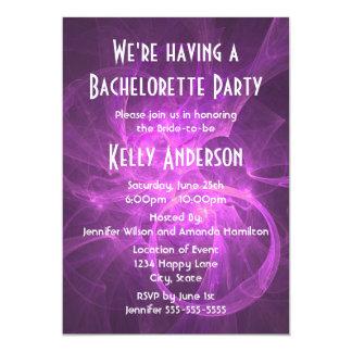 """Fiesta abstracto púrpura rosado de Bachelorette Invitación 5"""" X 7"""""""