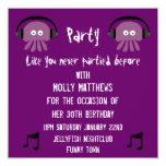 Fiesta adaptable de DJ de las medusas púrpuras Invitación 13,3 Cm X 13,3cm