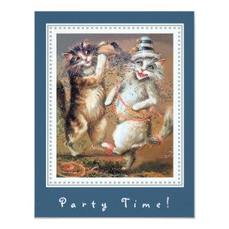 """Fiesta adaptable de dos gatos antropomorfos invitación 4.25"""" x 5.5"""""""