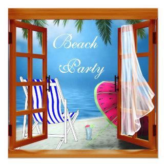 """Fiesta adulto de la playa de la playa de la invitación 5.25"""" x 5.25"""""""