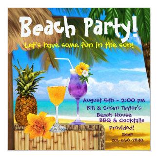 """Fiesta adulto de la playa de los cócteles de la invitación 5.25"""" x 5.25"""""""