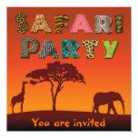 """Fiesta africano de la silueta del safari - invitación 5.25"""" x 5.25"""""""