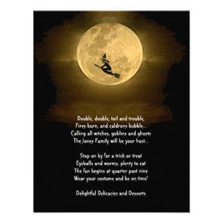 Fiesta amarillo de Halloween de la Luna Llena y de Invitación Personalizada