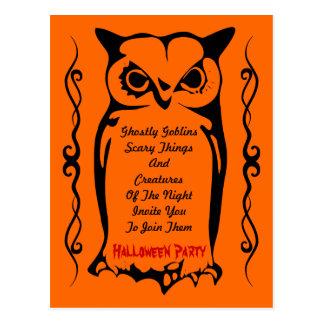 Fiesta anaranjado de Halloween del Goblin del búho Tarjetas Postales