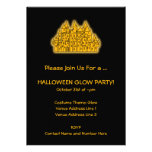 Fiesta anaranjado del resplandor de Halloween Invitaciones Personales