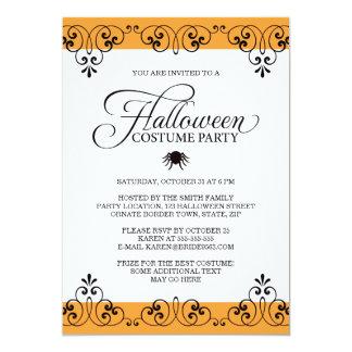 """Fiesta anaranjado elegante del traje de Halloween Invitación 5"""" X 7"""""""
