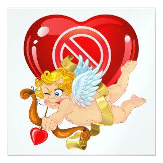 """Fiesta anti de la tarjeta del día de San Valentín Invitación 5.25"""" X 5.25"""""""