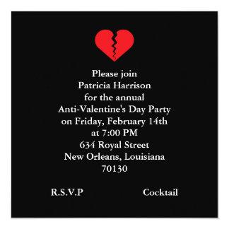 Fiesta anti del día de San Valentín Invitación 13,3 Cm X 13,3cm