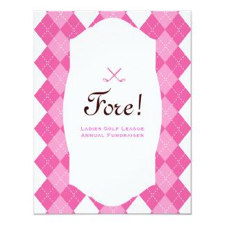 Fiesta Argyle del golf de las señoras rosadas Invitación 10,8 X 13,9 Cm