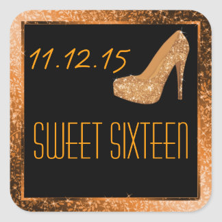 Fiesta atractivo del dulce dieciséis del oro de calcomanía cuadrada