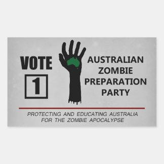 Fiesta australiano de la preparación del zombi del pegatina rectangular