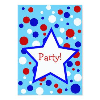 """Fiesta azul blanco rojo InvitationsTemplate del Invitación 5"""" X 7"""""""