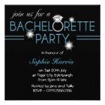 Fiesta azul de Bachelorette del anillo de Bling Invitación