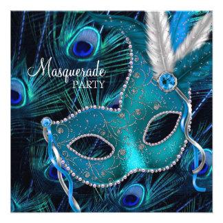 Fiesta azul de la mascarada de la máscara del pavo invitacion personal