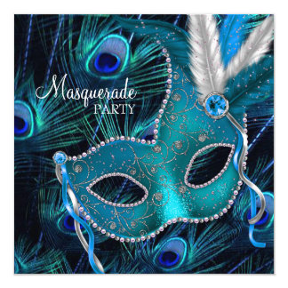 Fiesta azul de la mascarada de la máscara del pavo invitación 13,3 cm x 13,3cm