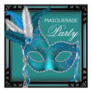 Fiesta azul de la mascarada de la máscara del trul invitacion personal