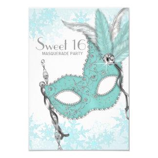 Fiesta azul de la mascarada del dulce 16 del copo invitación 8,9 x 12,7 cm