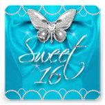 Fiesta azul de la perla de la mariposa del décimos comunicado personalizado