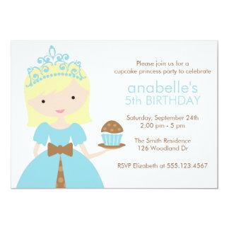 """Fiesta azul de la princesa cumpleaños de la invitación 5"""" x 7"""""""