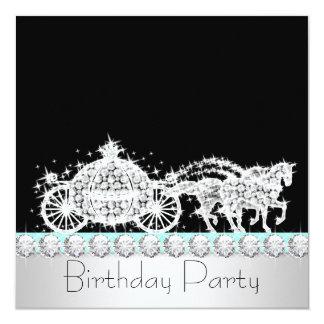 Fiesta azul de la princesa cumpleaños del trullo invitaciones personalizada