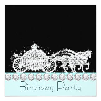 Fiesta azul de la princesa cumpleaños del trullo invitacion personal