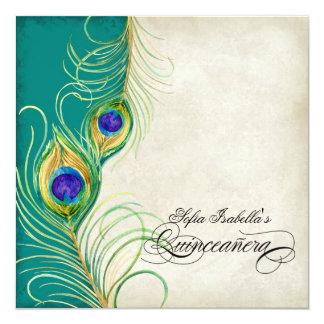 Fiesta azul de Quinceanera del damasco del trullo Invitación 13,3 Cm X 13,3cm