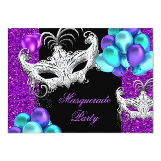 """Fiesta azul del brillo del trullo púrpura de la invitación 4.5"""" x 6.25"""""""