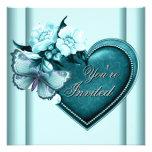 Fiesta azul del corazón del trullo del trullo azul invitaciones personalizada