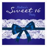 Fiesta azul del dulce 16 del cordón blanco de los  invitaciones personalizada