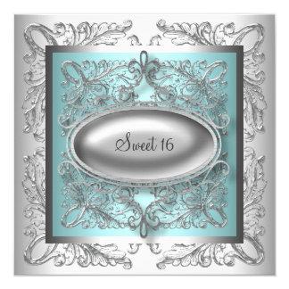 Fiesta azul del dulce 16 del trullo blanco de invitaciones personalizada