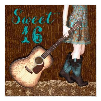 Fiesta azul del dulce dieciséis de la vaquera de invitación 13,3 cm x 13,3cm