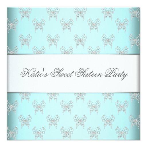 Fiesta azul del dulce dieciséis de las mariposas d invitacion personalizada