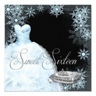 Fiesta azul del dulce dieciséis del copo de nieve anuncio personalizado