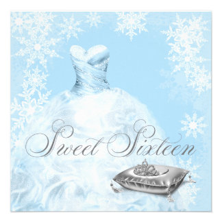 Fiesta azul del dulce dieciséis del copo de nieve  invitación