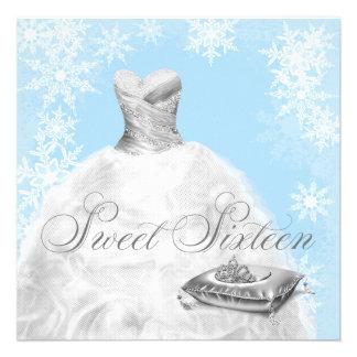 Fiesta azul del dulce dieciséis del copo de nieve anuncio