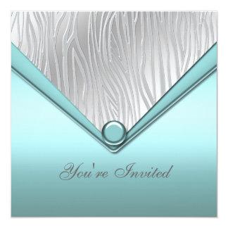 Fiesta azul del trullo de plata invitación 13,3 cm x 13,3cm