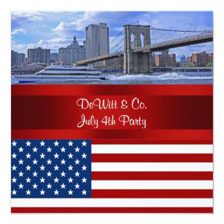 """Fiesta azul rojo de la bandera W de los E.E.U.U. Invitación 5.25"""" X 5.25"""""""