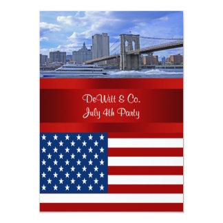 """Fiesta azul rojo de la bandera W de los E.E.U.U. Invitación 5"""" X 7"""""""