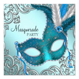 Fiesta azul y de plata del trullo de la máscara de invitación 13,3 cm x 13,3cm