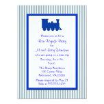 Fiesta azul y del blanco de las rayas del buen invitación 13,9 x 19,0 cm