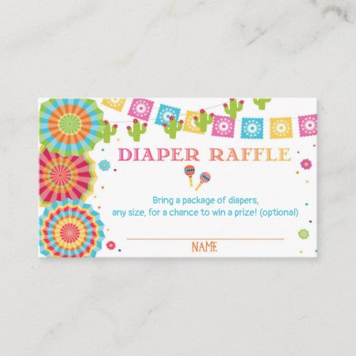 Fiesta Baby Shower Diaper Raffle Card