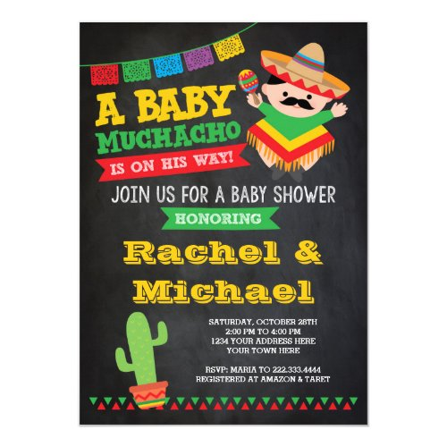 Fiesta Baby Shower Invitation, Baby Muchacho Invitation