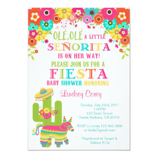 Fiesta Baby Shower Invitation~ Piu0026#241;ata And Flowers Card