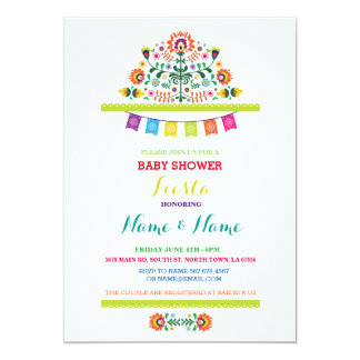 Fiesta Baby Shower Mexican Girl Boy Bright Invite
