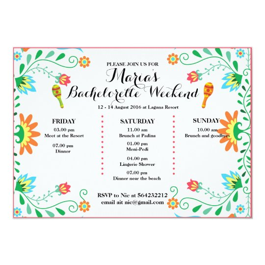 Fiesta Bachelorette Party Itinerary Invitation Card – Bachelor Party Email Invite