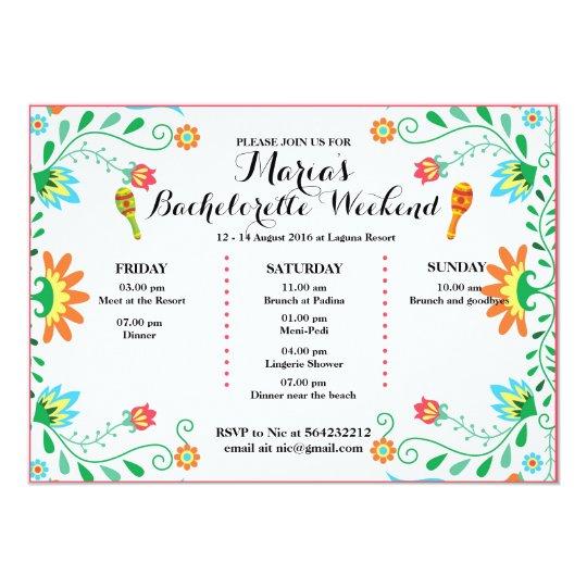 fiesta bachelorette party itinerary invitation invitation zazzle com