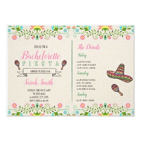Fiesta bachelorette with Itinerary invitation